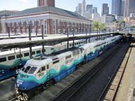 Photo of Sounder train at King Street Station, Seattle.